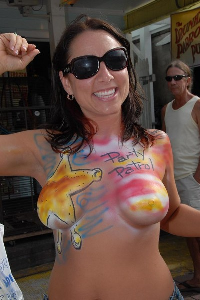 Painted tits at Fantasy Fest in Key West