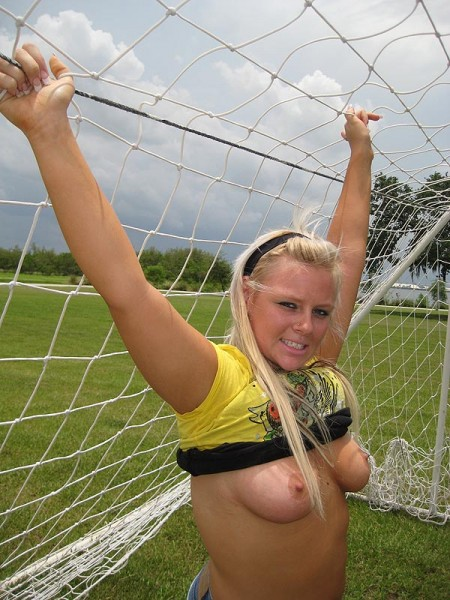Blonde boobs in the park